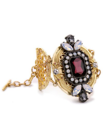 Faux Crystal Rhinestone Hollowed Bracelet - GOLDEN  Mobile