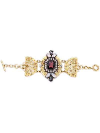 Faux Crystal Rhinestone Hollowed Bracelet - Golden