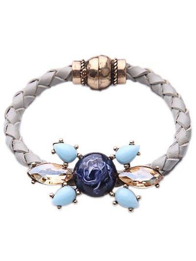 Faux CrystalGem Knitted Bracelet - White