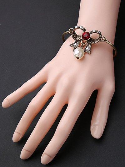 Rhinestone Faux Pearl Bowknot Bracelet - Golden