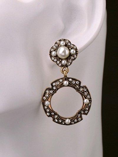 Rhinestone Faux Pearl Circle Earrings от Zaful.com INT