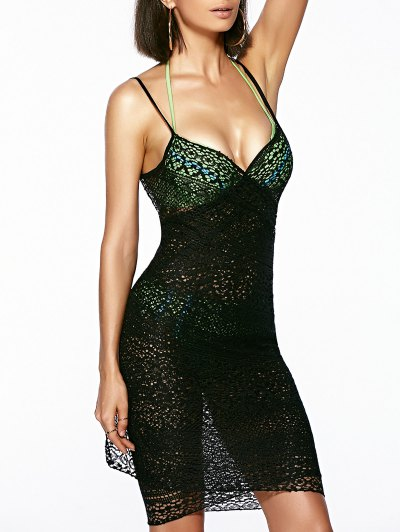 Guipure Backless Openwork Cover-Up - BLACK ONE SIZE(FIT SIZE XS TO M) Mobile