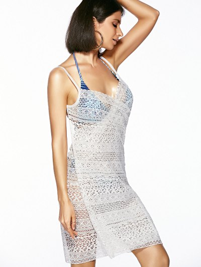 Guipure Backless Openwork Cover-Up - WHITE ONE SIZE(FIT SIZE XS TO M) Mobile