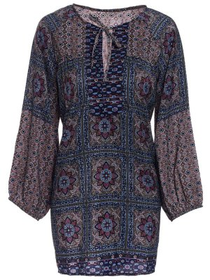 Long Sleeve Baroque Print Blouse