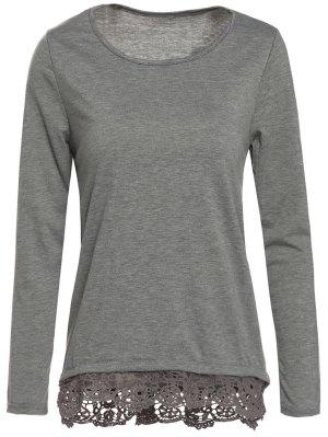 Gray Lacework Scoop Neck Long Sleeve T-Shirt