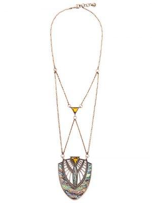 Faux Gem Crossed Pendant Necklace