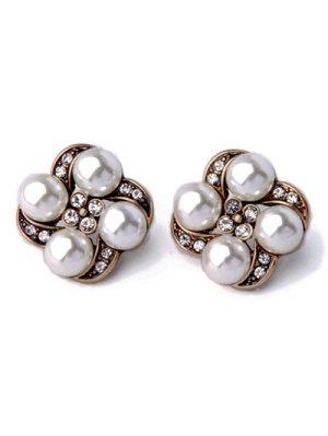 Rhinestone Faux Pearl Floral Earrings - White