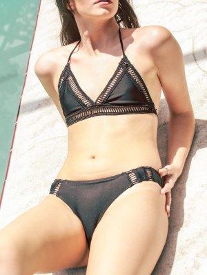 Solid Color Halter Crochet Bikini Set - Black