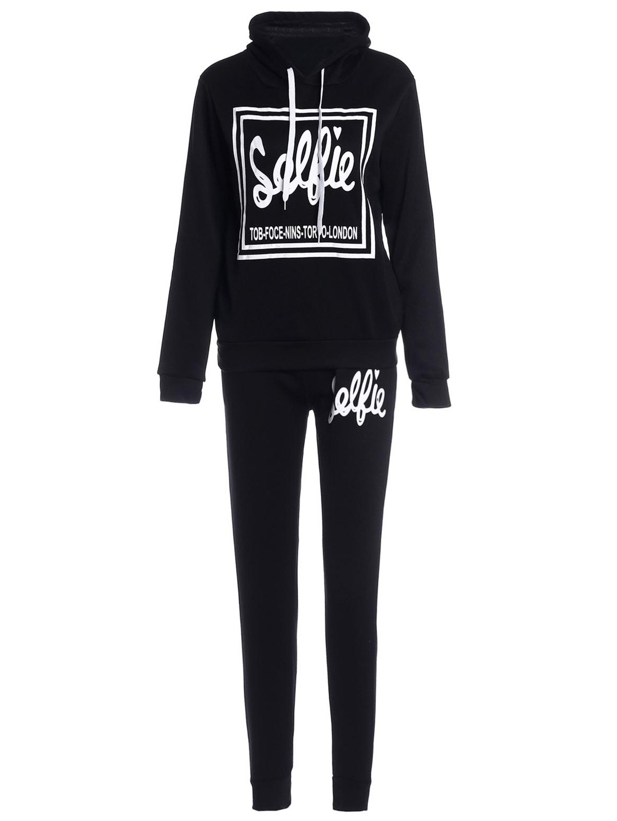 Image of Hooded Letter Printed Hoodie and Elastic Waist Pants Twinset