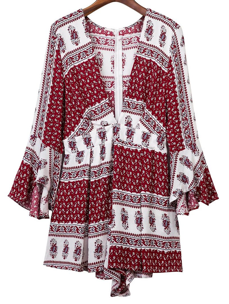 Plunging Neck 3/4 Sleeve Ethnic Print Romper
