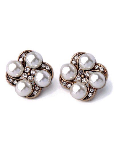 Rhinestone Faux Pearl Floral Earrings