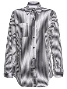 Stripe Turn Down Collar Long Sleeves Shirt