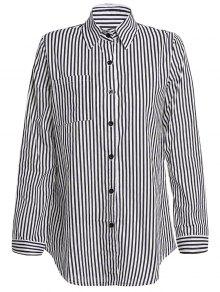 Stripe Turn Down Collar Long Sleeves Shirt