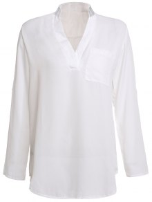 White Plunging Neck 3/4 Sleeve Blouse