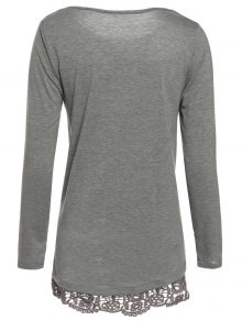 Gray Lacework Scoop Neck Long Sleeve T-Shirt - GRAY S