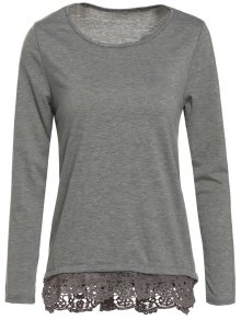 Gray Lacework Scoop Neck Long Sleeve T-Shirt