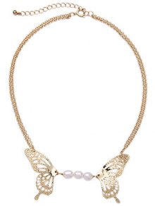 Faux Pearl Hollowed Butterfly Necklace
