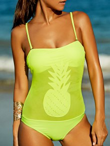 Pineapple Pattern Bandeau One Piece Swimsuit