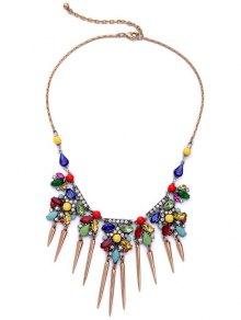 Faux Crystal Rhinestone Fringed Necklace