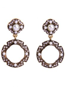 Rhinestone Faux Pearl Circle Earrings