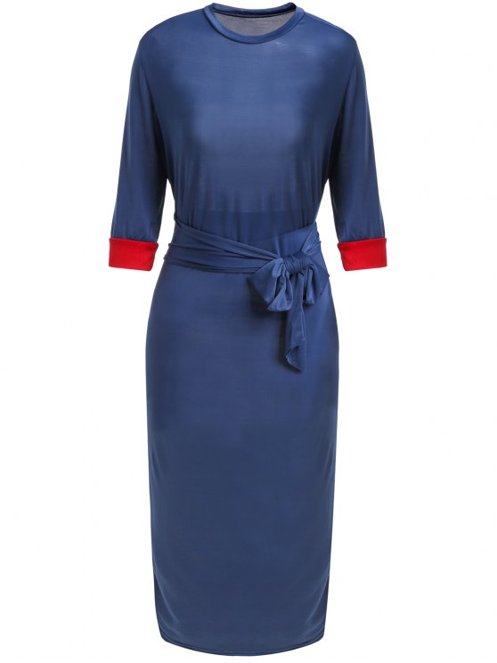 latest Hit Color Stand Neck 3/4 Sleeve Dress - PURPLISH BLUE M