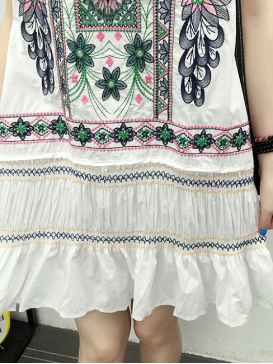 Embroidered Ruffle Ethnic Tank Dress - WHITE L Mobile