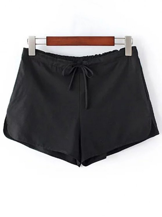 Pure Color Straight Leg Drawstring Shorts - BLACK ONE SIZE(FIT SIZE XS TO M) Mobile