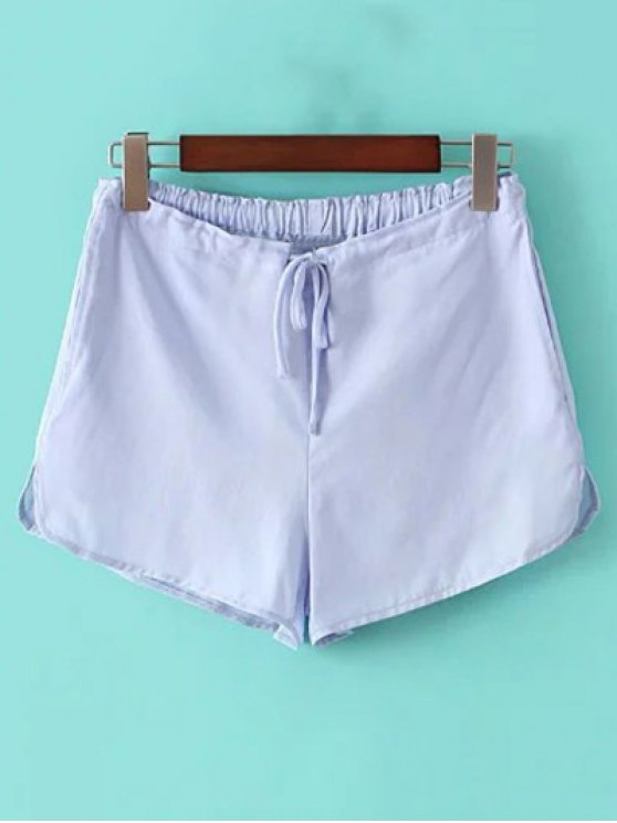 ladies Pure Color Straight Leg Drawstring Shorts - LIGHT BLUE ONE SIZE(FIT SIZE XS TO M)