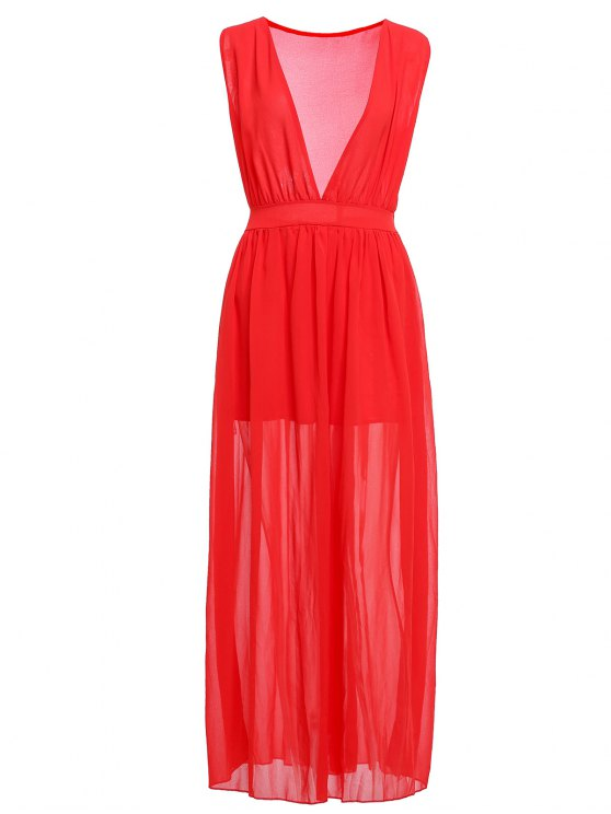 womens Plunging Neck Ruffle Solid Color Maxi Dress - RED S