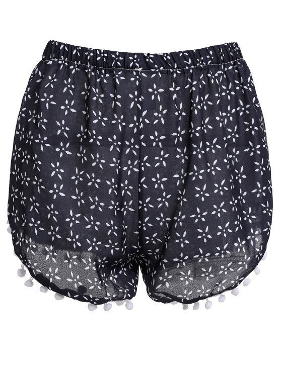 buy Tiny Floral Print Irregular Hem Laciness Shorts - CADETBLUE S