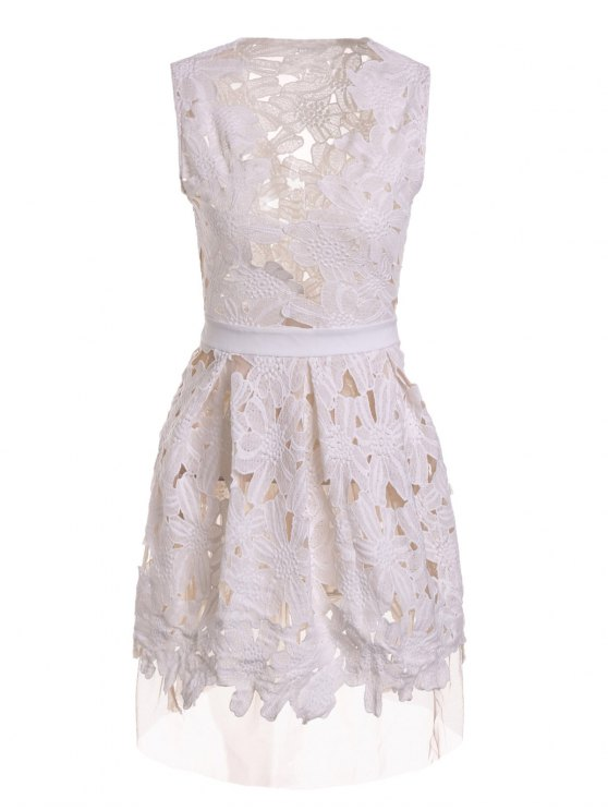 affordable Plunging Neck Floral Pattern Openwork Sleeveless Dress - WHITE M