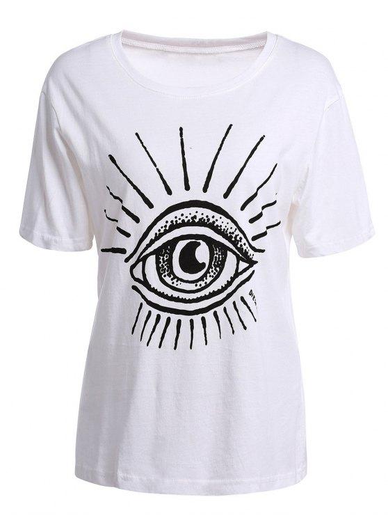women's Eye Print Short Sleeve T-Shirt - WHITE XL