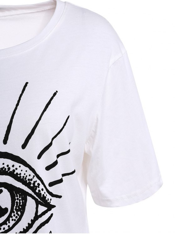 Eye Print Short Sleeve T-Shirt - WHITE S Mobile