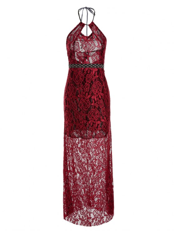 shop Backless Hollow Out Lace Sleeveless Maxi Dress - WINE RED S