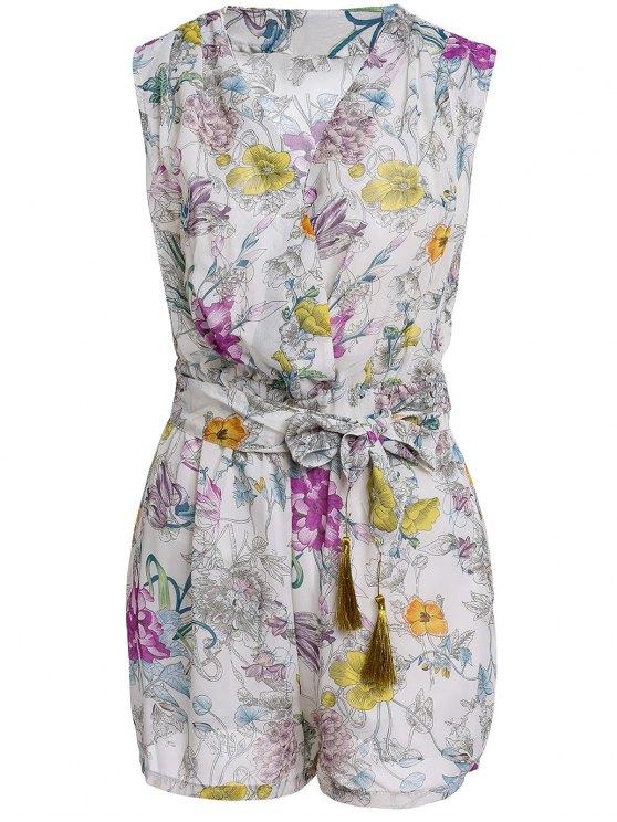 fashion Flower Print V Neck Sleeveless Romper - OFF-WHITE L