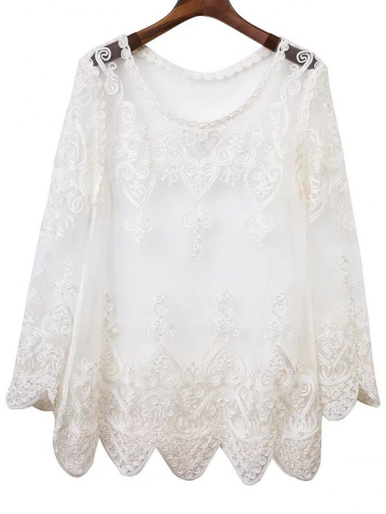 unique See-Through Embroidery Long Sleeve Dress - WHITE S
