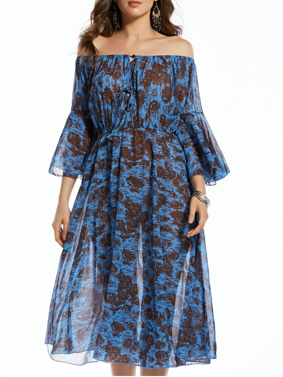 women's Print Off The Shoulder 3/4 Sleeve Irregular Hem Dress - PURPLISH BLUE M