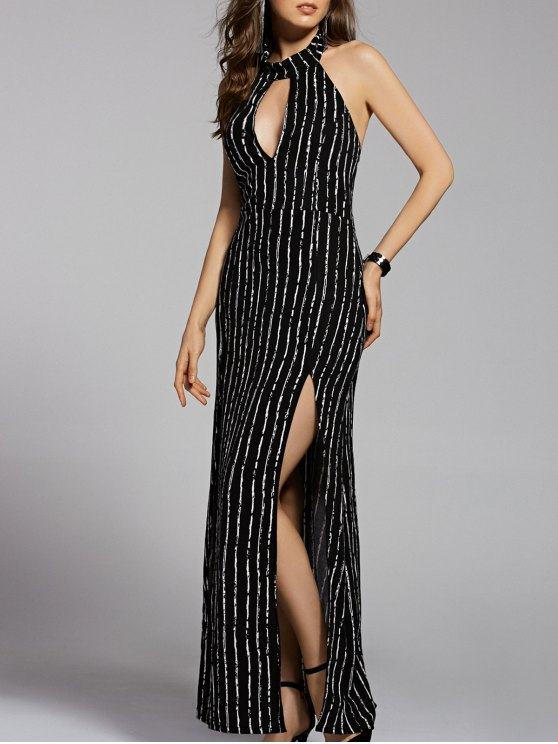 fancy Striped Stand Neck Cut Out Backless Maxi Dress - BLACK M