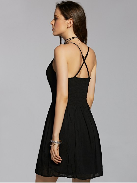 Flower Embroidery Cami A Line Dress - BLACK M Mobile