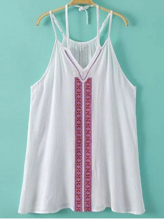 Embroidery Cami Dress - WHITE S Mobile