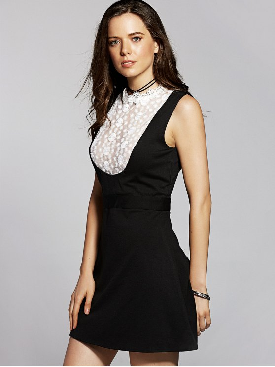 Lace Spliced Stand Neck Sleeveless Dress - BLACK XS Mobile