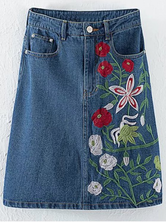 Floral Embroidery High Waisted Denim Skirt - DENIM BLUE L Mobile