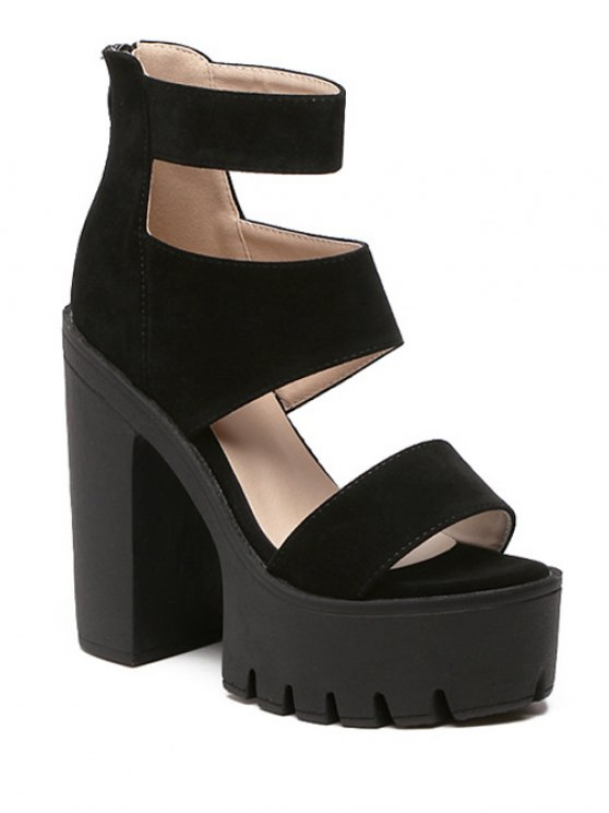 outfits Suede Platform Chunky Heel Sandals - BLACK 38