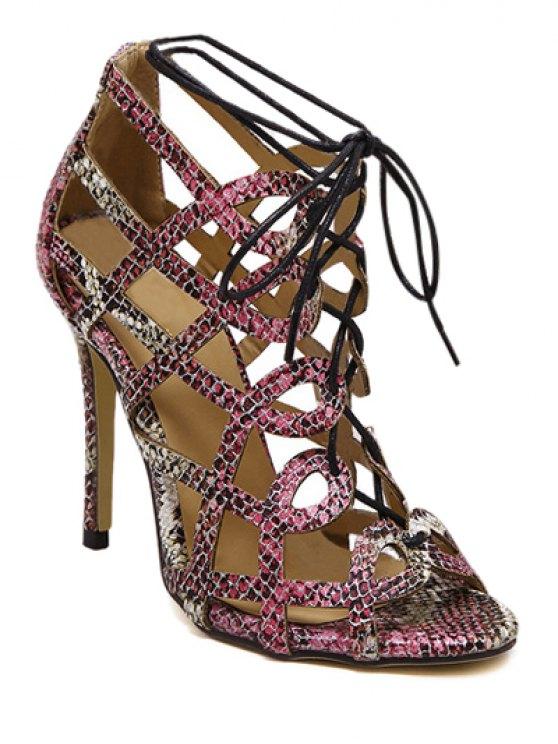 Estampado de serpiente ahueca hacia fuera las sandalias con cordones - Colormix 38