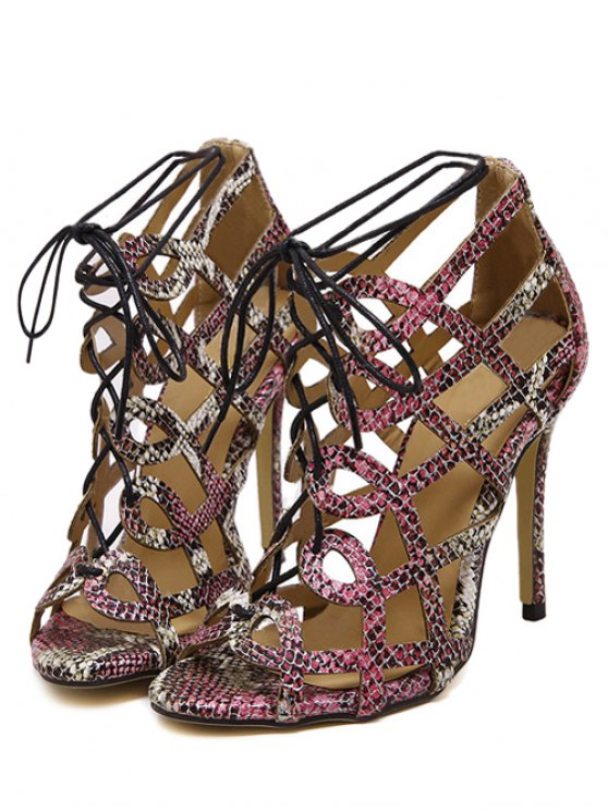 Snake Print Hollow Out Lace-Up Sandals - COLORMIX 37 Mobile