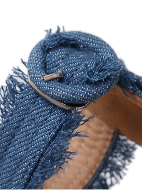 Denim Ankle Strap Stiletto Heel Sandals - LIGHT BLUE 37 Mobile