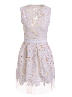 Plunging Neck Floral Pattern Openwork Sleeveless Dress - White M