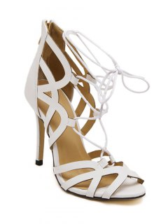 Lace-Up Hollow Out Peep Toe Sandals - White 38