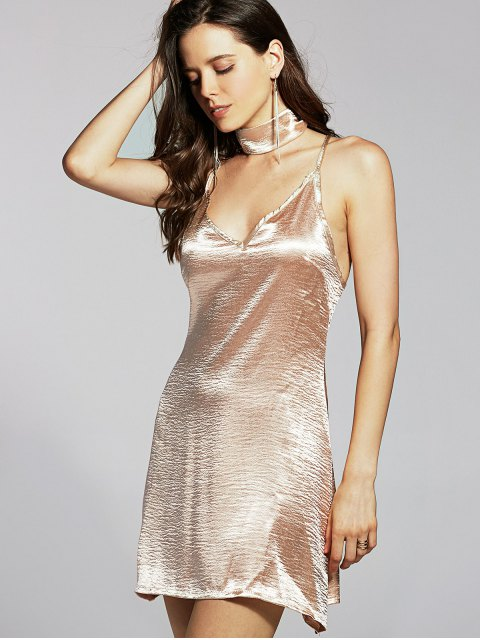 buy Pure Color Cami Satin Dress - GOLDEN XL Mobile