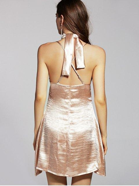 women Pure Color Cami Satin Dress - GOLDEN M Mobile